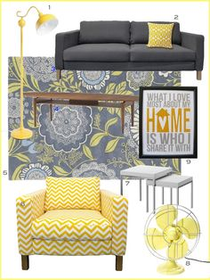 Yellow & gray room inspiration - I love the lamp (1) and chair (6)