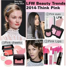 LFW Beauty Trends 2014-Think Pink, created by kusja on Polyvore