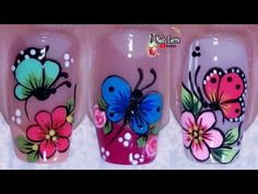 Nail Art Designs Videos, Butterfly Nail, Colorful Nail Designs, Manicure And Pedicure, Finger, Make It Yourself, Nails, Youtube, Toenails