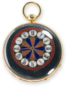Simple watch with case of pietre dure inlay on gold mount; sold in 1842 by Fossin & Fils to Prince Nikolaievich Demidov.