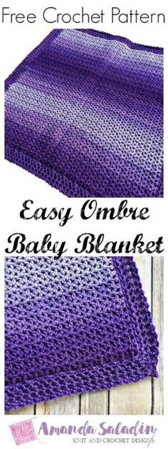 Crochet a quick and easy gift with this free crochet pattern for the Easy Ombre Baby Blanket. Uses only 2 skeins of Red Heart yarn! by Linda E Graves
