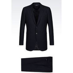 GIORGIO ARMANI Single-Breasted Suit In Wool And Cashmere ($3,575) ❤ liked on Polyvore featuring men's fashion, men's clothing, men's suits, blue, giorgio armani mens suits and mens blue suit