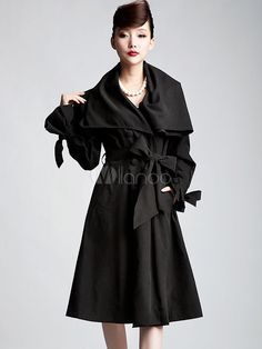 Black Sash Double-Breasted Silk Woman's Trench Coat - Milanoo.com