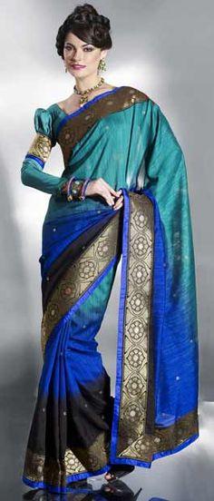 Turquoise Blue Bhagalpuri Art Silk Saree With Blouse @ $67.01