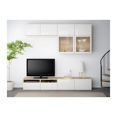 BESTÅ TV-Komb. mit Vitrinentüren - Eichenachbildg weiß las./Selsviken Hochglanz/Klarglas weiß, Schubladenschiene, Drucksystem - IKEA
