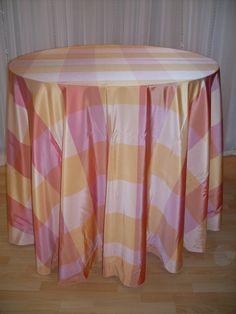 Peachy Keen Plaid #linen #pattern #chairdecor #linenfactory #event #finelinen #tabledecor