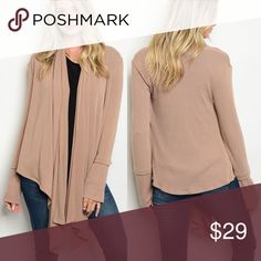 🆕 KNIT CARDIGAN Mocha/Mauve knit cardigan with waterfall detail. Slight bell sleeve and asymmetrical hem! Made in Mexico. Fabric Content: 97% POLYESTER 3% SPANDEX. True to size. Evette Encounters Sweaters Cardigans
