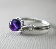 Amethyst Ring Sterling Silver Wire Wrapped O Loop by holmescraft