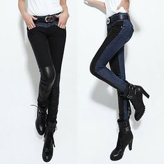 Trendy Leather Spliced Jeans – USD $ 56.99