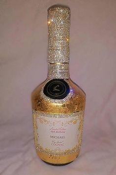 Bedazzled Liquor Bottles, Decorated Liquor Bottles, Bling Bottles, Champagne Bottles, Glitter Wine Bottles, Alcohol Bottle Decorations, Alcohol Bottle Crafts, Secret Santa, Hennessy Bottle