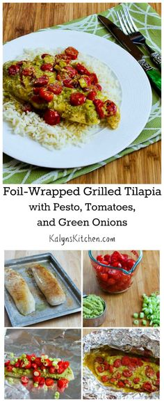 Foil-Wrapped Grilled Tilapia Packets with Pesto, Tomatoes, and Green Onions are extra easy and so delicious! Serve over rice, or use Cauliflower Rice for a #LowCarb meal. [from KalynsKitchen.com]