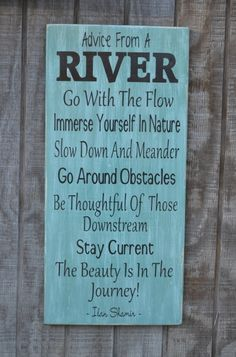 Advice From A River Wood Sign Hand Painted Rustic Wood Lake House Décor SignThis is a licensed product.