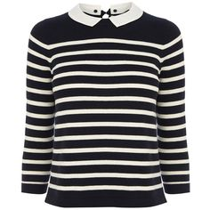 Oasis Cropped stripe collar top ($27) ❤ liked on Polyvore featuring tops, shirts, sweaters, navy, navy sailor shirt, navy crop top, breton shirt, sailor crop top and cotton crop top