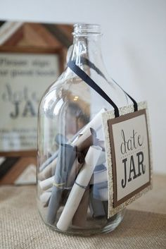 "15 Creative And Unique Guest Book Alternatives: Super cute, instead of boring well wishes people are asked to right ""date ideas"" on the slips of paper."