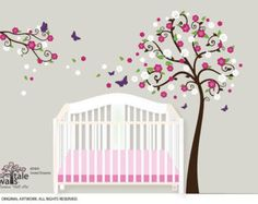 Butterflies Blowing Tree Wall Stickers Kids Nursery Vinyl Decals Art Mural Decor Good For Energy And The Spleen Decals, Stickers & Vinyl Art
