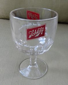 1960's Heavy Clear Glass Schlitz Beer Stemmed Thumbprint Style Beer Mug Glass
