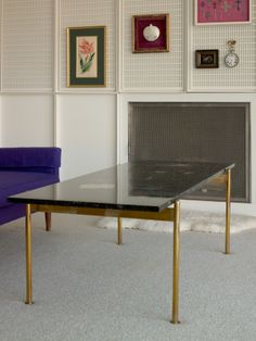 Alexander Girard; Brass, Marble and Hardstone Inlay Coffee Table for Miller House, c1960.