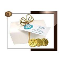 Chocolade munten in Ballotin (groot). Gewicht 325 gram. Smaak Melkchocolade. Te bestellen vanaf 100 stuks.  #chocolade  #muntjes