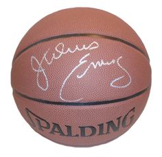 "Julius ""Dr J."" Erving Autographed Spalding NBA Indoor / Outdoor Basketball, Proof Photo"