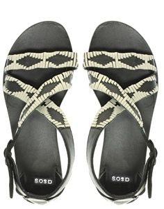 ASOS FAST Leather Flat Sandals with Whipstitch Detail