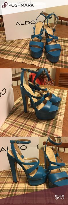 """Aldo, """"Alesen"""", size 7.5. NWT. Sky high heels 👠 Aldo """"Alesen"""", size 7, blue NWT. Sky high heels measuring 5 1/2"""" and a platform measure 1 1/2"""". They are surprisingly easy to walk in (couldn't help but try them on!!) and give you legs forever !!!  Please feel free to make an offer. These are beautiful shoes 👠!!!! Aldo Shoes Platforms"""