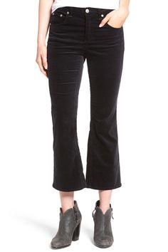 High Rise Velvet Crop Flare Pants