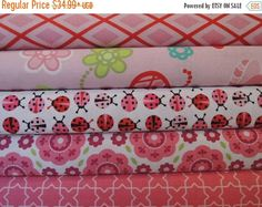CIJ Sale Lady Bug Rag Quilt Kit, Easy to Make, Personalized, Bin L, Optional Sewing Available
