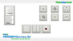 MERIDIEM Electrical - Set This set contains: • 1 Door Bell • 6 International Electric Sockets • 3 Light Switches - Sims 4 CC