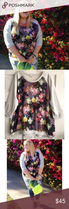 Floral Sweatshirt SIMPLY BE USA / Floral Print Front Panel Sweatshirt US Plus Size 26 - Vibrant floral front panel (100% polyester) - Light grey sweatshirt sleeves and back (77% cotton, 23% polyester) - Elbow length sleeves - Ribbed crew neckline, wrists and bottom hemline *check online size chart for measurements  ✅ NWOT- brand new, only worn once for photos  ✅ NO trades / NO low-balling ✅ List price is fair and highly discounted✌️ Simply Be Tops Sweatshirts & Hoodies