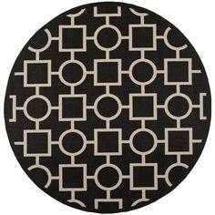Safavieh Indoor/Outdoor Contemporary Courtyard Black/Beige Rug (7'10 Round) #Safavieh