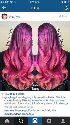 Super pink, magenta and purple hair