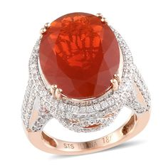 ILIANA 18K Rose Gold Jalisco Fire Opal and Diamond Ring | Liquidation Channel