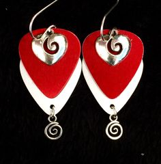 Red Silver Heart Metallic guitar pick earrings with swirl charms $26 Purchase thru our website
