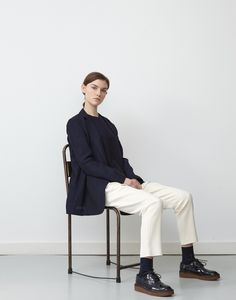 Navy Sendai Knit, Navy Izumi jacket, Ivory Standard Pant