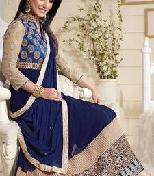 Buy Blue brasso georgette semistitched salwar with dupatta anarkali-salwar-kameez online
