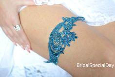 Wedding Garter Set Light Dark Teal Blue Lace by BridalSpecialDay