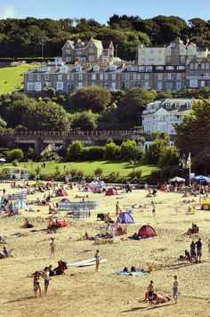 View of Porthminster beach in St Ives, Cornwall, UK