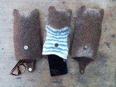 Купить Очечник валяный Михалыч - Валяние, валяный чехол, Очечник, сувенир, медведь, подарок, мишка