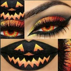 Cute Pumpkin lip and eye makeup!