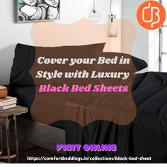 Explore the 600 & 1000 thread count black bed sheets, in various sizes & top quality from Comfort Beddings. Our sheet made up with 100% cotton material. If you are interested, you can visit our online store and take a luxury & comfort sleeping experience at affordable prices. Black Bed Sheets, King Size Bed Sheets, Double Bed Sheets, Fitted Bed Sheets, Bed Sheet Sets, Queen Size Bedding, Yellow Bedding, Black Bedding, Ruffle Duvet