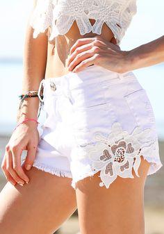 White Crochet-Trimmed Denim Shorts - Bottom