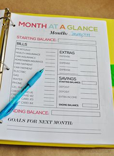 Month at a Glance--part of the ultimate Budget Binder