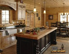 Log Cabin Homes from Golden Eagle Log Homes, extensive collection of home plans or custom designs log home especially for you. Log Cabin Kitchens, Log Cabin Homes, Log Cabins, Dream Kitchens, Rustic Kitchens, Kitchen Rustic, Knotty Pine Kitchen, Kitchen Dining, Knotty Alder