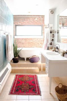 Cool Bathroom Designs With Brick Walls | ComfyDwelling.com #PinoftheDay #bathroom #designs #BrickWalls