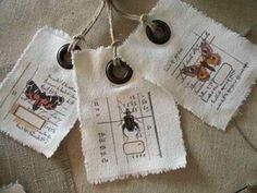 cloth labels with grommets / twine--for magnetic board price tags. Fabric Labels, Fabric Tags, Card Tags, Gift Tags, Cards, Art Journaling, Paper Tags, Clothing Labels, Handmade Crafts