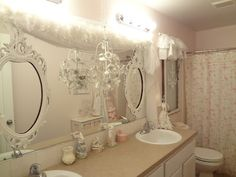 Hang frames over the big mirror in my bathroom , I love this !