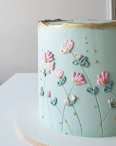 Gorgeous Cakes, Pretty Cakes, Cute Cakes, Cake Decorating Frosting, Cake Decorating Designs, Birthday Cake With Flowers, Pretty Birthday Cakes, Bolo Floral, Floral Cake