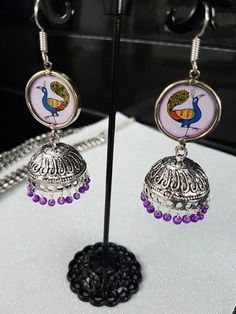Peacock jewellery necklace and earrings