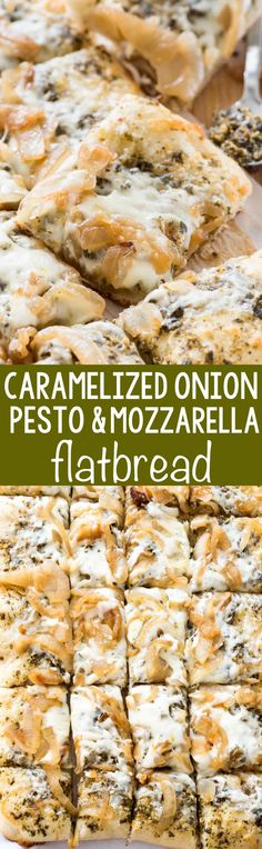 Caramelized Onion Pesto Flatbread - this EASY 4 ingredient pizza recipe is the perfect appetizer. Pesto, caramelized onions, and mozzarella baked onto a pizza crust - every time I make this people rave about it!
