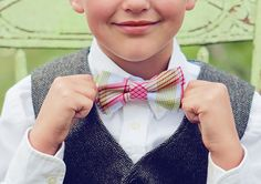 Little Boy Bow Ties - pink fuschia peach bow tie is so awesome for Noah and Miller.